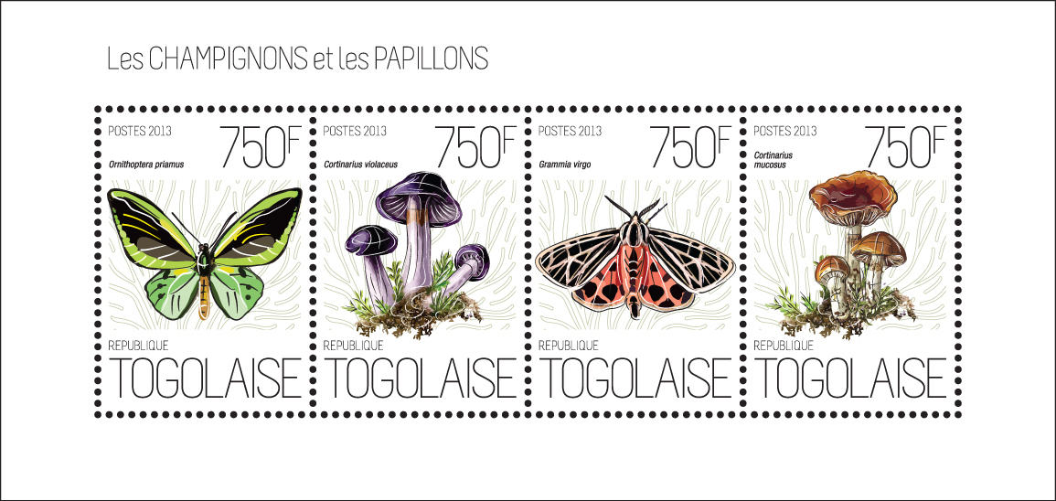 Mushrooms and Butterflies - Issue of Togo postage stamps