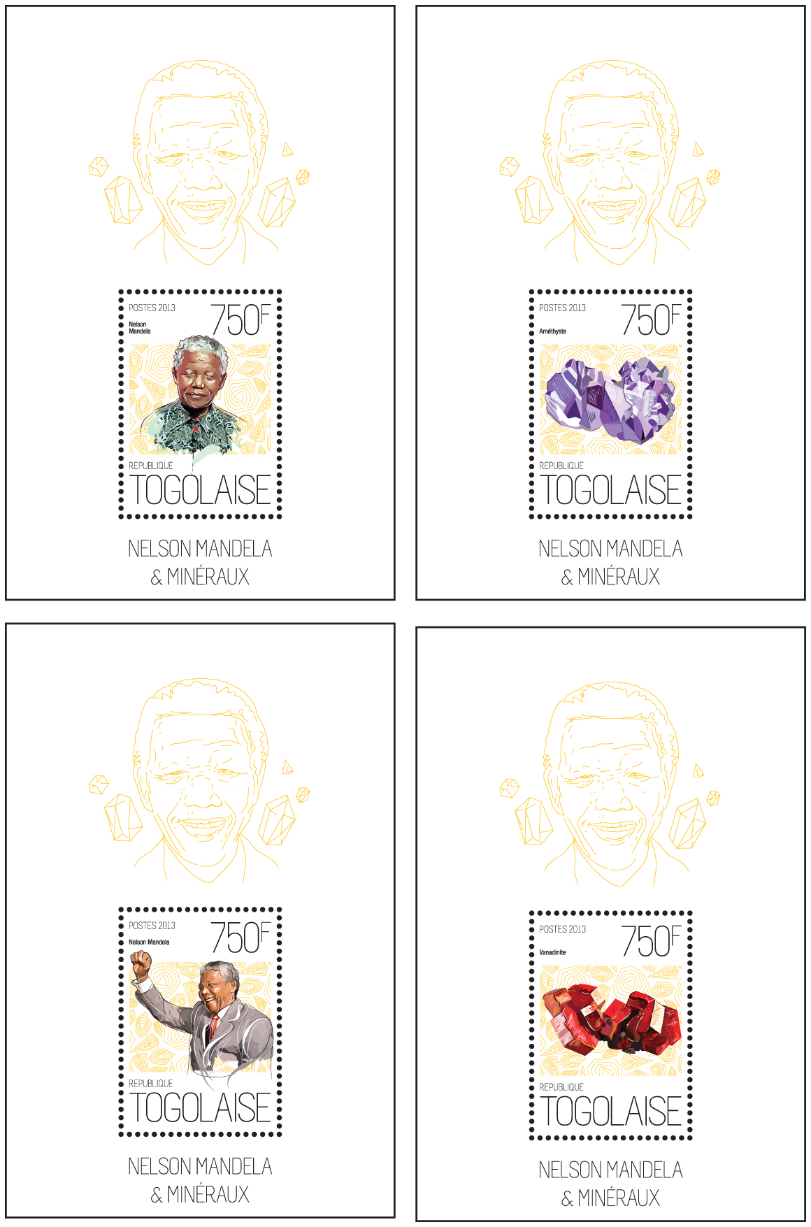 Nelson Mandela and Minerals - Issue of Togo postage stamps