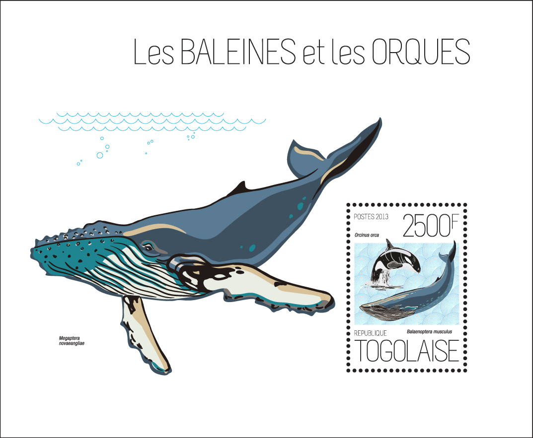 Whales and Orcas - Issue of Togo postage stamps