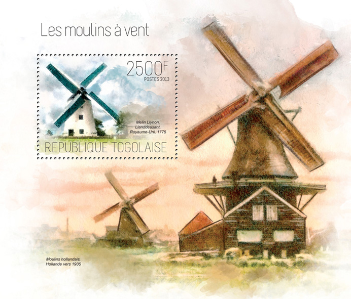 Windmills - Issue of Togo postage stamps