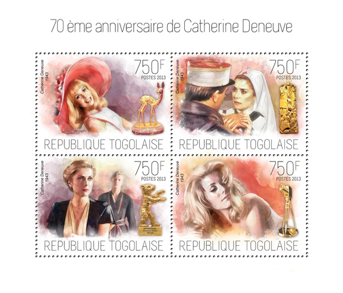 Catherine Deneuve - Issue of Togo postage stamps