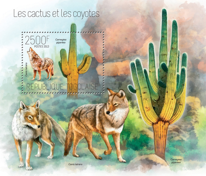Cactus and Coyotes - Issue of Togo postage stamps