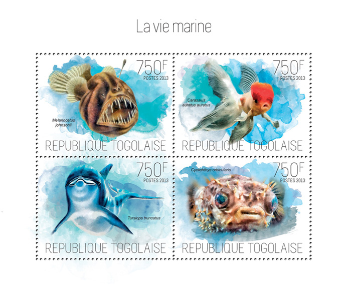 Marine life - Issue of Togo postage stamps