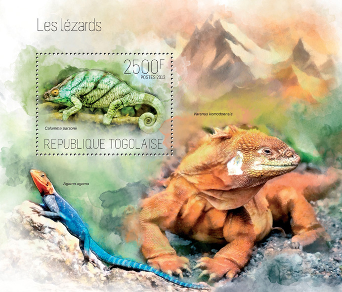 Lizards - Issue of Togo postage stamps