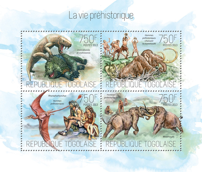 Prehistoric life - Issue of Togo postage stamps