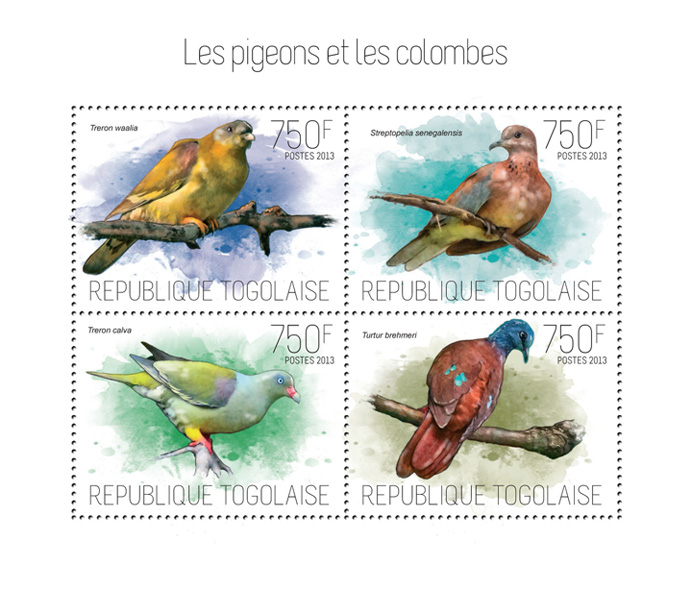 Pigeons and doves - Issue of Togo postage stamps