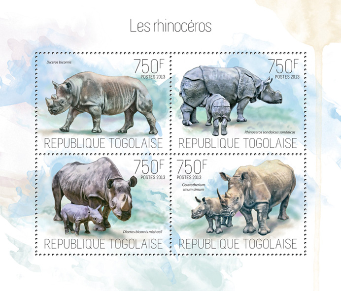 Rhinoceros - Issue of Togo postage stamps
