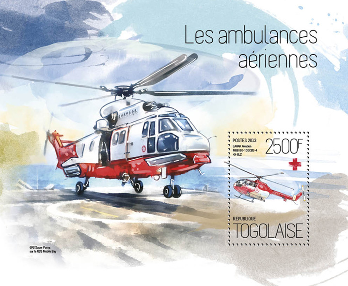 Air ambulance - Issue of Togo postage stamps