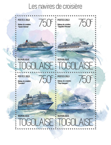 Cruise Ships - Issue of Togo postage stamps