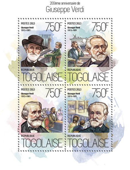 Giuseppe Verdi - Issue of Togo postage stamps