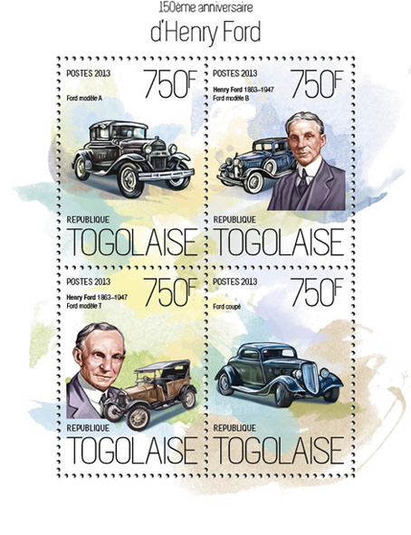 Henry Ford - Issue of Togo postage stamps