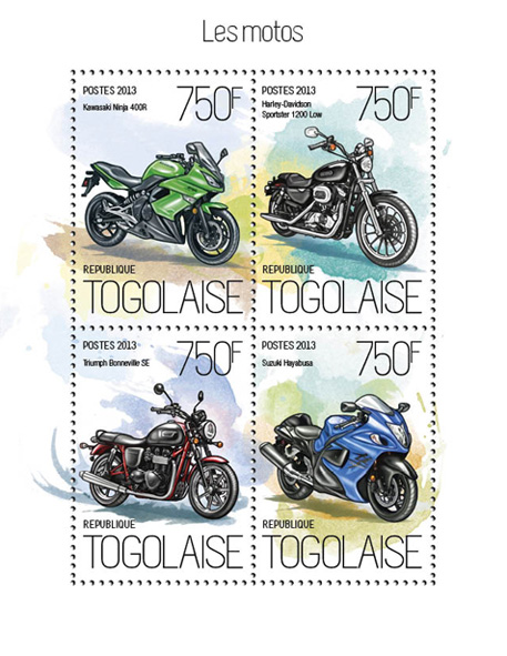 Motorcycles - Issue of Togo postage stamps