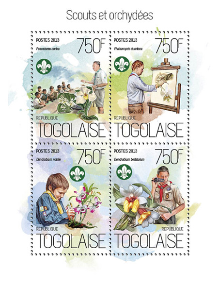 Scouts and orchids - Issue of Togo postage stamps