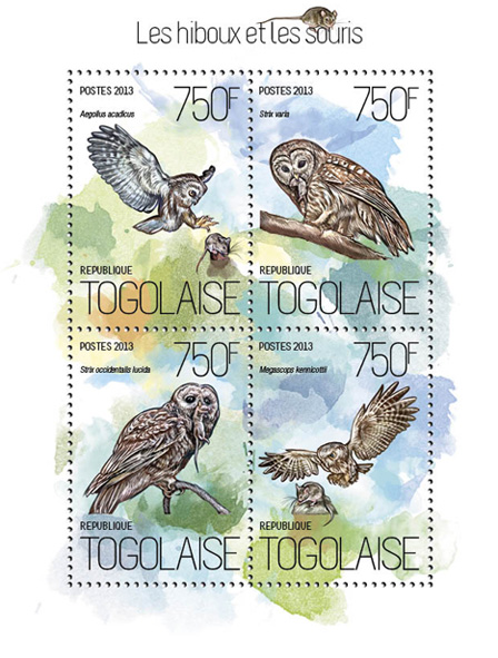 Owls and mice - Issue of Togo postage stamps