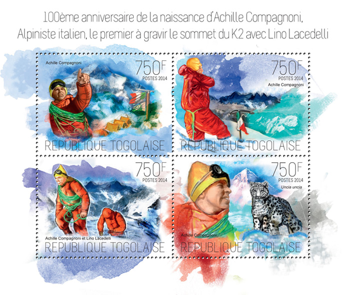 Achille Compagnoni - Issue of Togo postage stamps