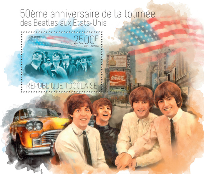 The Beatles in USA - Issue of Togo postage stamps