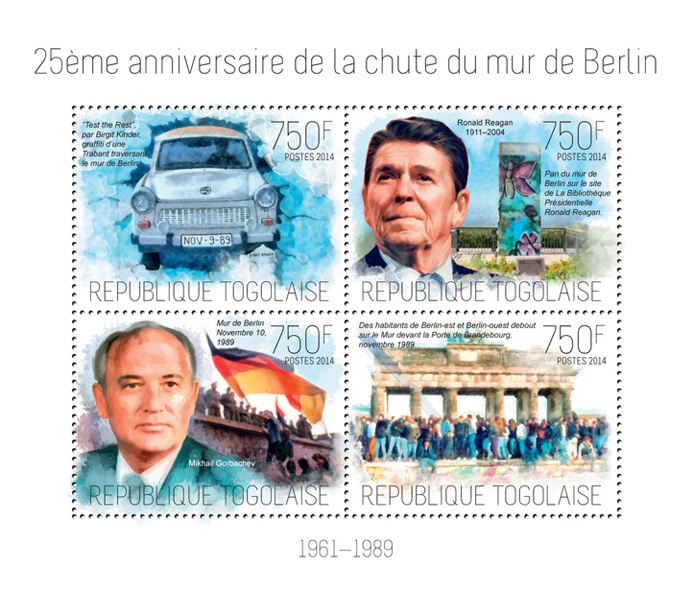 the Berlin Wall - Issue of Togo postage stamps