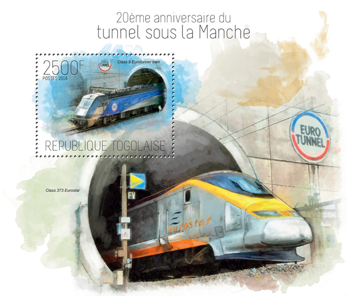 Trains and Tunnels - Issue of Togo postage stamps