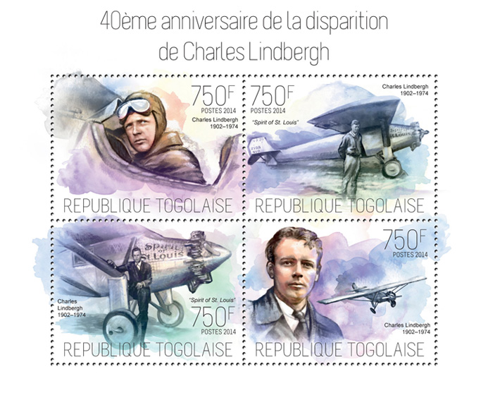 Charles Lindbergh - Issue of Togo postage stamps