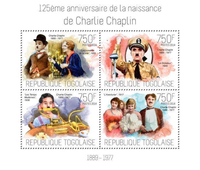 Charlie Chaplin  - Issue of Togo postage stamps