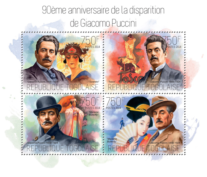 Giacomo Puccini  - Issue of Togo postage stamps