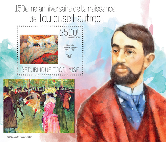 Toulouse Lautrec - Issue of Togo postage stamps