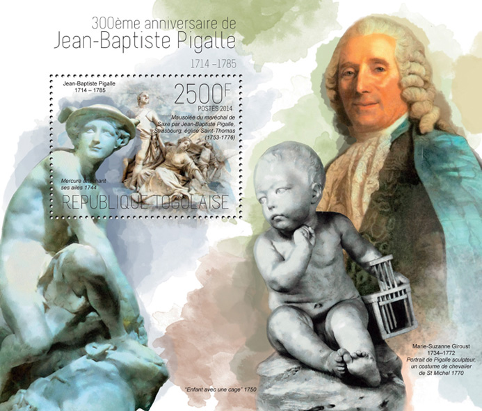 Jean-Baptiste Pigalle - Issue of Togo postage stamps
