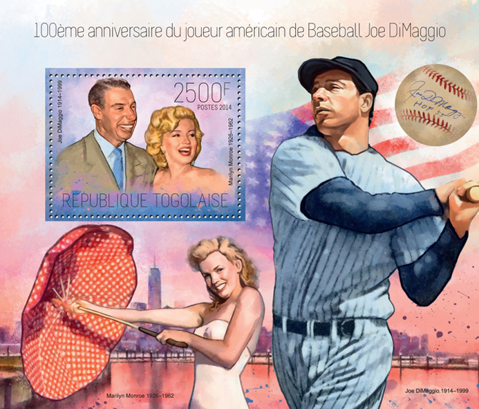 Joe DiMaggio - Issue of Togo postage stamps