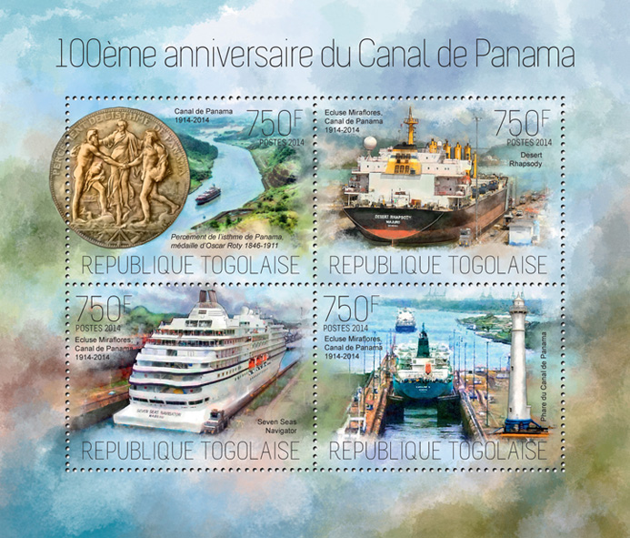 Panama Canal - Issue of Togo postage stamps