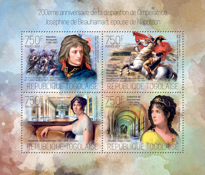 Joséphine de Beauharnais - Issue of Togo postage stamps