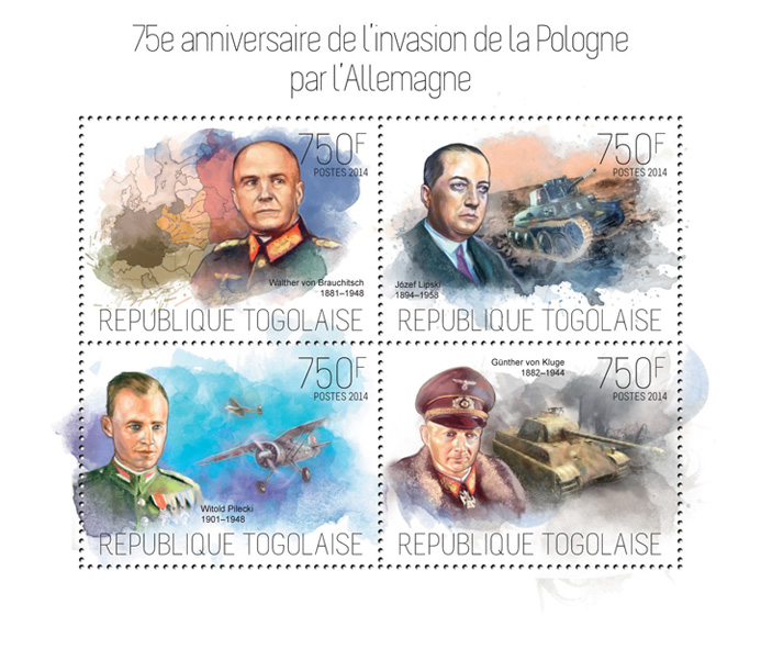 The Invasion of Poland by Germany - Issue of Togo postage stamps