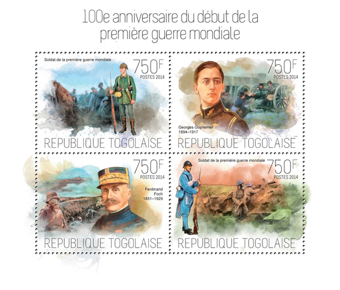 World War I - Issue of Togo postage stamps