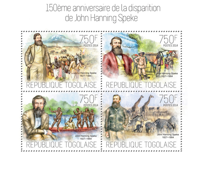 John Hanning Speke  - Issue of Togo postage stamps