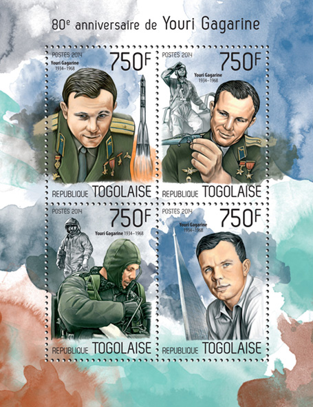 Youri Gagarine  - Issue of Togo postage stamps