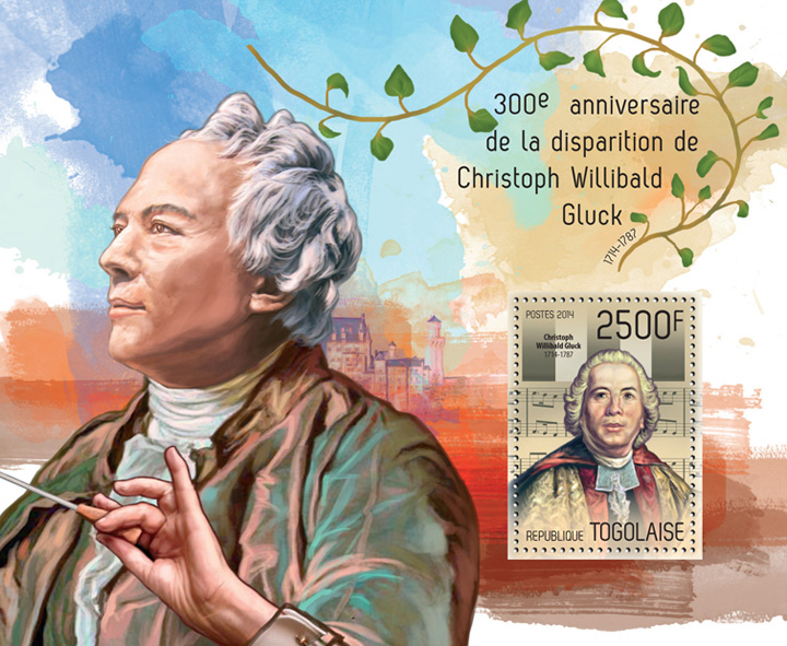 Christoph Willibald Gluck - Issue of Togo postage stamps