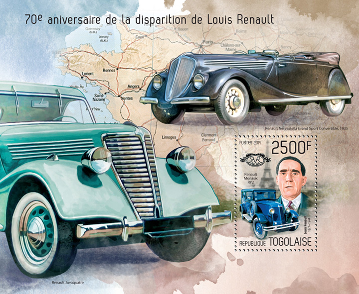 Louis Renault - Issue of Togo postage stamps