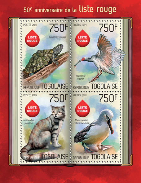 Red List - Issue of Togo postage stamps
