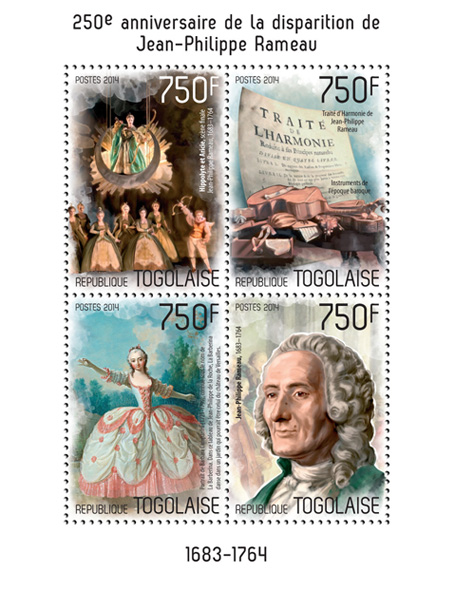 Jean Philippe Rameau  - Issue of Togo postage stamps