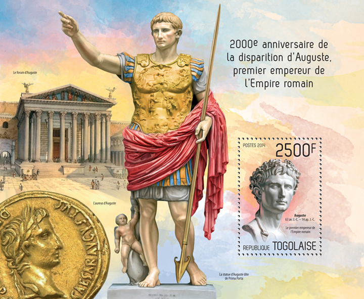 Augustus - Issue of Togo postage stamps
