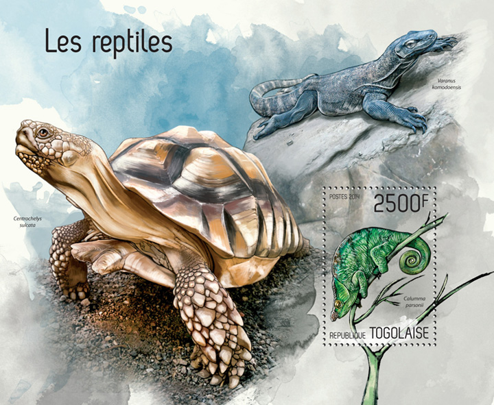 Reptiles - Issue of Togo postage stamps