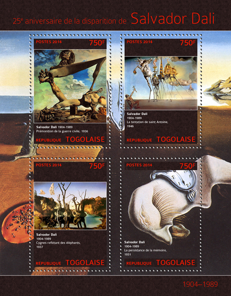 Salvador Dali  - Issue of Togo postage stamps