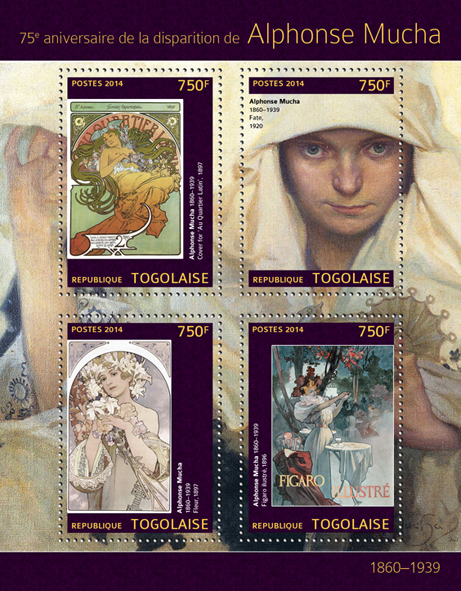 Alphonse Mucha - Issue of Togo postage stamps