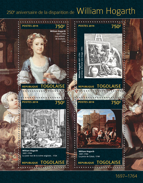 William Hogarth - Issue of Togo postage stamps