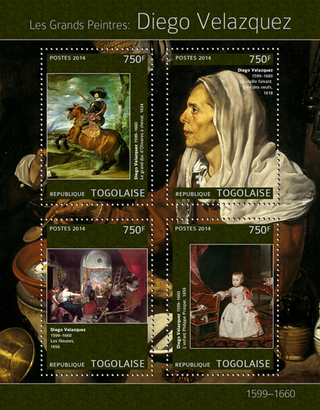 Diego Velazquez  - Issue of Togo postage stamps