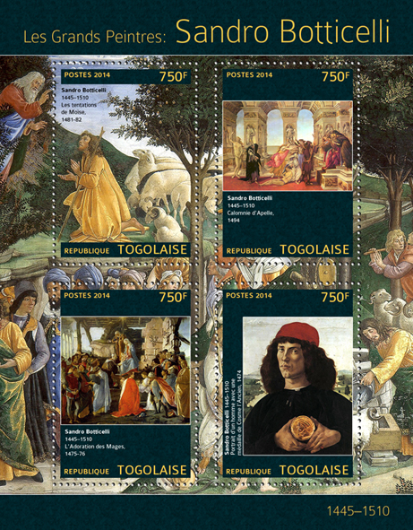 Sandro Botticelli - Issue of Togo postage stamps