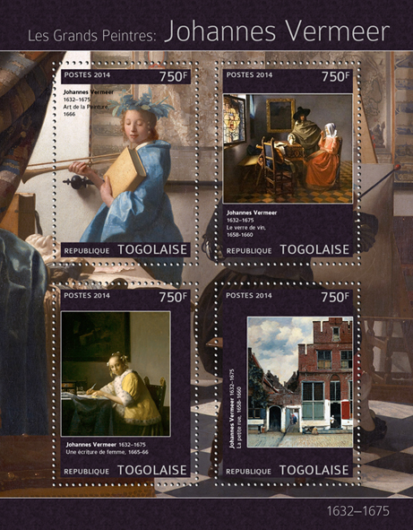 Johannes Vermeer - Issue of Togo postage stamps