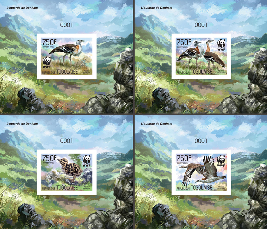 WWF – Birds (imperf. 4 delux) - Issue of Togo postage stamps