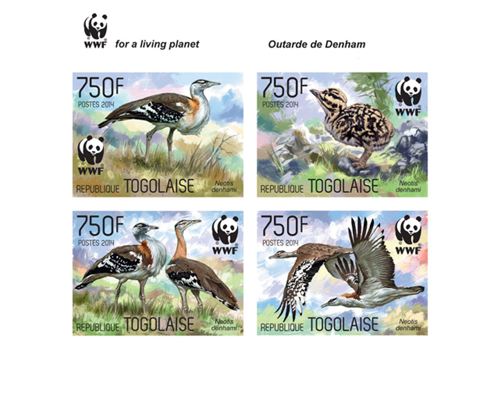 WWF – Birds (imperf. Set) - Issue of Togo postage stamps