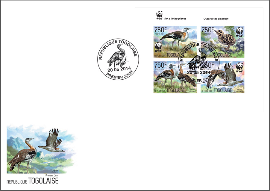 WWF – Birds (FDC imperf.) - Issue of Togo postage stamps