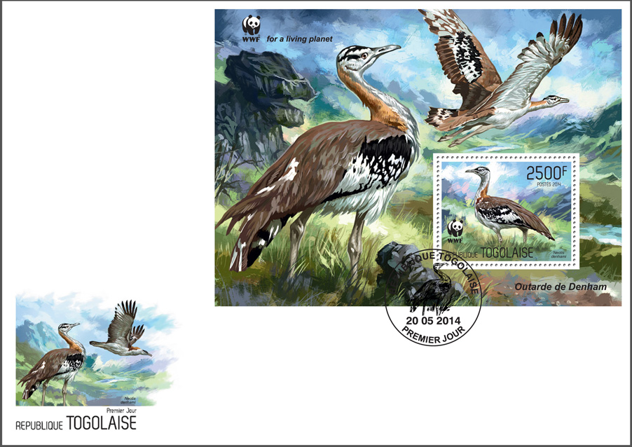 WWF – Birds (FDC) - Issue of Togo postage stamps